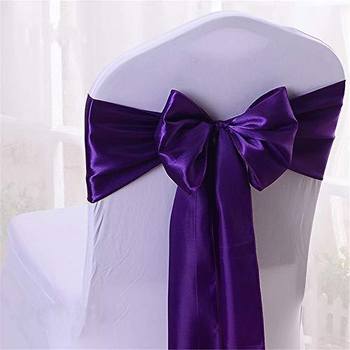 YMOMG Elastische Stuhl-Schleifen mit Satinschleifen, für Hochzeiten, Partys, Dekorationen (Tiefpurpurn,100pcs)