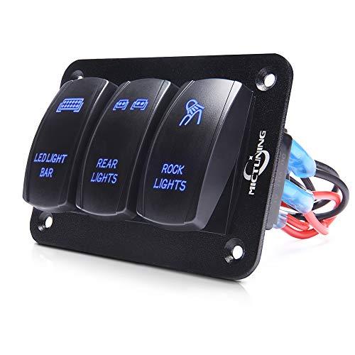 MICTUNING 3 Gang Rocker Schalter Panel - 5 Pin EIN/Aus-Kippschalter Bedienfeld mit LED-Licht | Kabelbaum Vorverdrahtet Einfache Installation | 12 / 24V für Auto Boot Marine ATV UTV-Blau