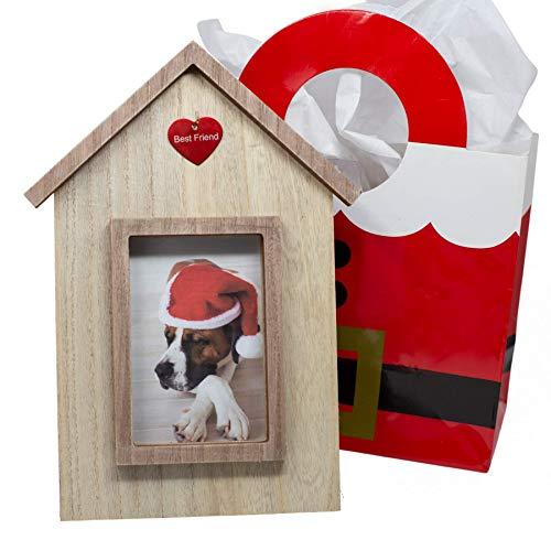 Dog Picture Frame in The Shape of Dog House; Dog Lover Gift or Dog Memorial Picture Frame for Loss of Dog. Dog Picture Frame has Hook to Hang Dog Tags for This Pet Memorial Picture Frame