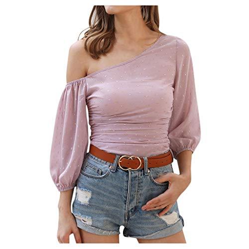 Mode Damen Tops Langarm Laterne Ärmel aus der Schulter Solid Shirt Bluse