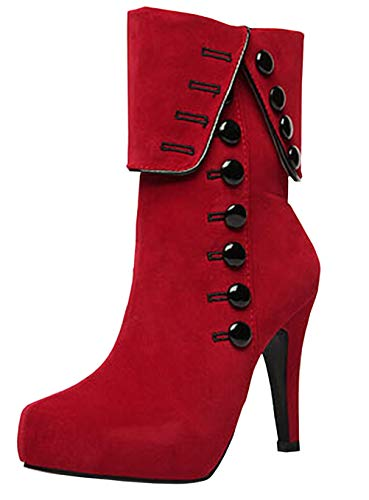 DADAWEN Women's Suede High Heel Side Zipper Ankle Booties Winter Snow Boots Red US Size 6.5