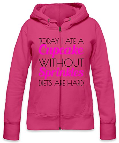 Today I Ate A Cupcake Without Sprinkles Slogan Womens Zipper Hoodie X-Large