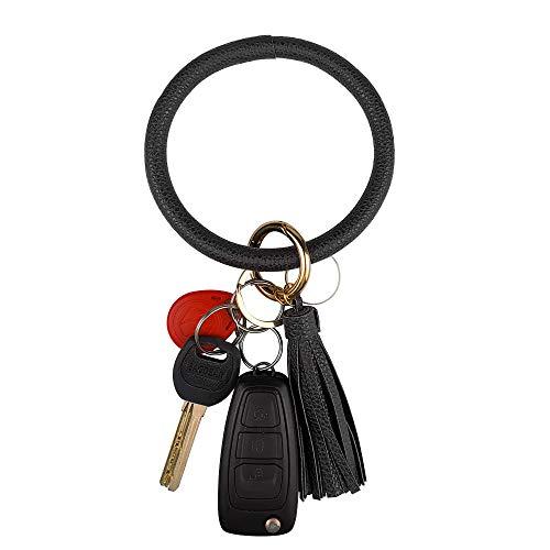 Leather Bracelet Key Ring Bangle Keyring, Tassel Ring Circle Key Ring Keychain Wristlet for Women Girls – Free Your Hands (Black)