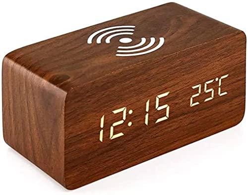 dh-10 Reloj despertador de madera con puerto de carga USB, pantalla LED regulable de 3 niveles, alimentación con batería de reserva, para dormitorio, oficina, estudio