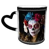 Beautiful Woman Custom DesigneCandy Skull Tazze che cambiano colore, tazze da caffè d'arte magiche e divertenti, tazze in ceramica, regali per la famiglia e gli amici