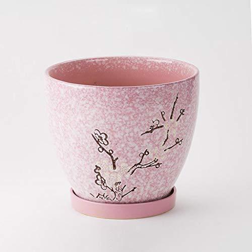CKH Simple Pot De Fleurs Vert Épaississement Maison Sable Violet Respirant Pot De Fleurs De Prunier en Céramique (Size : M)
