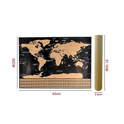 Balai Weltkarte Scratch-Off-Poster - Abkratzen Karte des Weltreise-Karten-Plakats, Einfaches Scratching Goldfolie Mit Länderflaggen