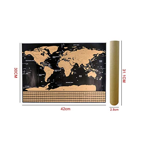 Leezo - Póster de mapa del mundo para rascar con banderas de campo S
