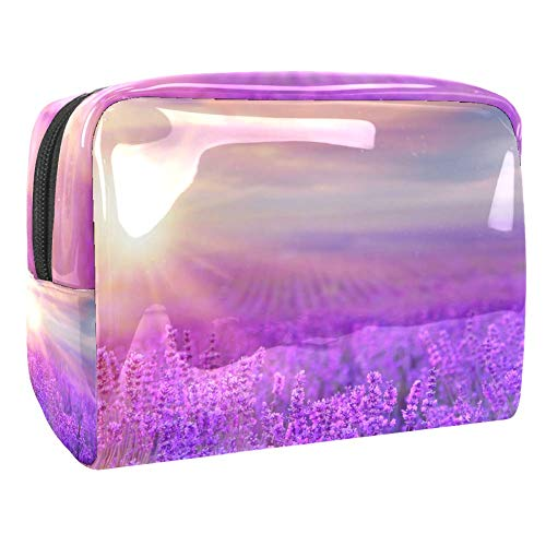 Maquillage Cosmetic Case Multifunction Travel Toiletry Storage Bag Organizer for Women - Sunset Lavender Field Purple