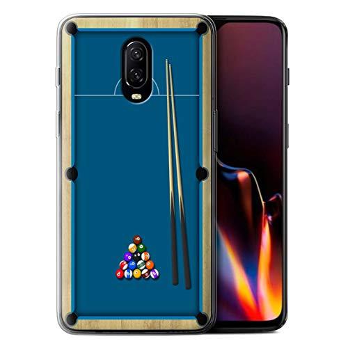 Stuff4 beschermhoes/cover/caso/gel/TPU/protetetiva bedrukt, motief Giochi voor OnePlus 6T – zwembad/Biliardo blauw