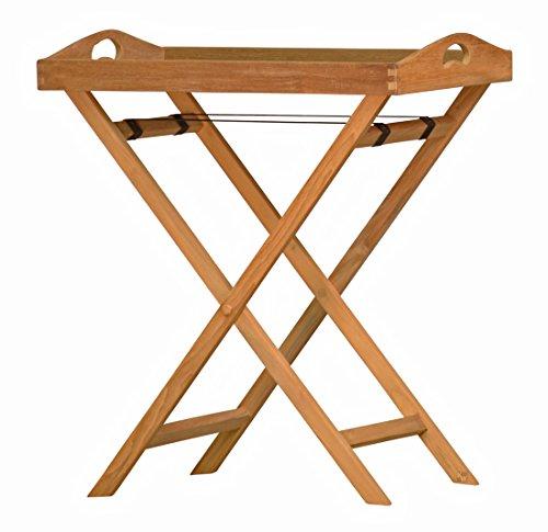 Kai Wiechmann Tablett Lucca Teak-Holz Garten wetterfest mit Gestell klappbar als Beistelltisch