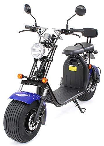 eFlux Chopper Two Elektro Scooter 1500 Watt 60 Volt 20AH mit Straßenzulassung 35 Kilometer Reichweite viele Farben (Schwarz/Blau)