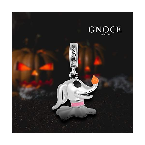 GNOCE Ghost Dog with Lantern Nose Charm Pendant Sterling Silver Halloween Dog Charm Bead Fit Bracelet/Necklace Pets Charm for Women Girls
