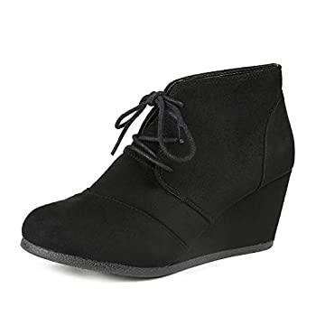 DREAM PAIRS TOMSON Women s Casual Fashion Outdoor Lace Up Low Wedge Heel Booties Shoes black 6.5 B M  US