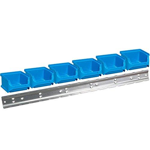 Allit 6 x Blaue Stapelboxen L 102 x B 100 x H 60 mm + 1 Wandschiene Typ 457052