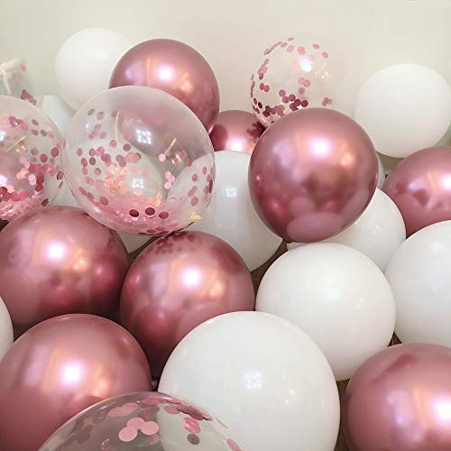 """Pink Balloons 12"""" Party Balloons Birthday Balloons Pink and White Balloons for Baby Girl Shower Party Decoration Pink Confetti Balloon Garland Kit for Parties 50 Pcs Pack …"""