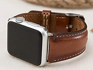 Full Grain Leather Brown Apple Watch band, 42mm, 38mm, 40mm, 44mm for series 1-2-3-4-5