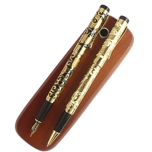 Gullor Fountain Pen and Rollerball Pen 5000 Dragon Year, Golden Dragon with Beige and Black + 2 sticks Brown Wooden pen box