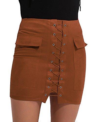 CNFIO Mujer Faldas Elegantes De Cintura Alta Slim Fit Moda Vintage Punk Faldas Cortas Minifalda Falda Mini Cuer (Ropa)