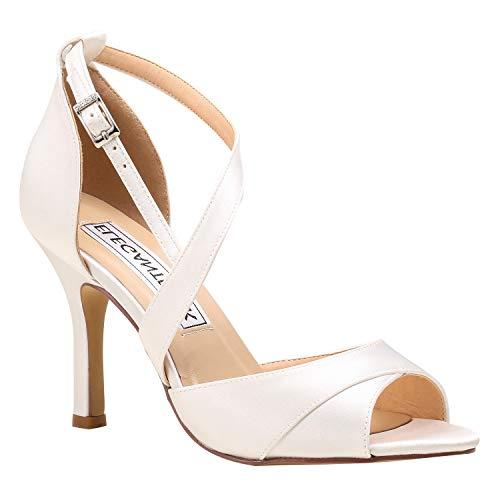Duosheng & Elegant HP1821 Mujer Mirar furtivamente Dedo del pie Tacones de Aguja Vestir Sandalias Hebilla Strappy Satín…