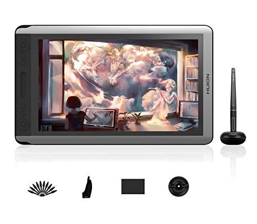 HUION KAMVAS 16 Tableta Gráfica con Pantalla, Monitor de Dibujo Gráfico de 15.6 '' con Pantalla de Vidrio Antideslumbrante, 100% sRGB, lápiz sin Batería PW507, ±60°función de inclinación, sin Soporte