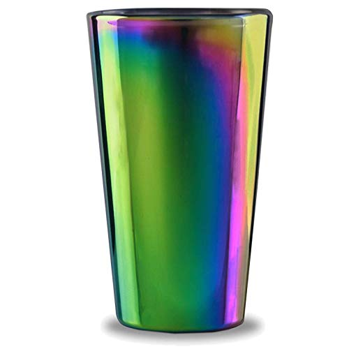 Circleware Rainbow Fusion Set de 4 vasos para beber, de base pesada, de 4 a 18 onzas, cristalería para agua, cerveza, licor, whisky, bar y decoración, regalos