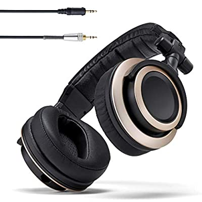 Status Audio CB-1 Closed Back Studio Monitor Headphones - 50mm Drivers - For Music Production, Mixing, Mastering and Audiophile Use (Black & Gold) by Status Audio