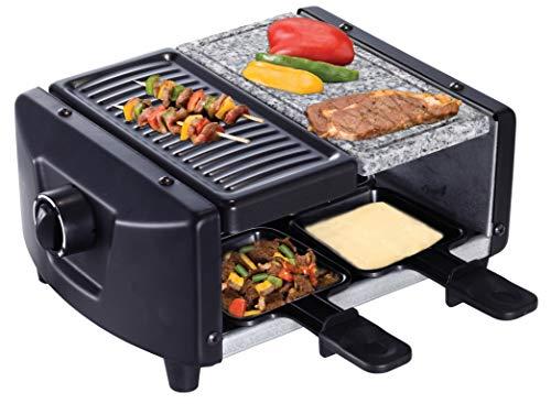 SAVOIE RG83 2in1 Raclette-Grill/Steingrill für 4 Personen, Partygrill mit Natursteinplatte, zum Grillen und Überbacken (Fleisch, Fisch, Gemüse), Grill Antihaftbeschichtet, 4 Pfännchen, starke 1200W