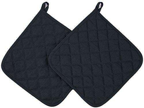 ZOLLNER 2er Set Topflappen Baumwolle, 24x24 cm, schwarz (weitere verfügbar)