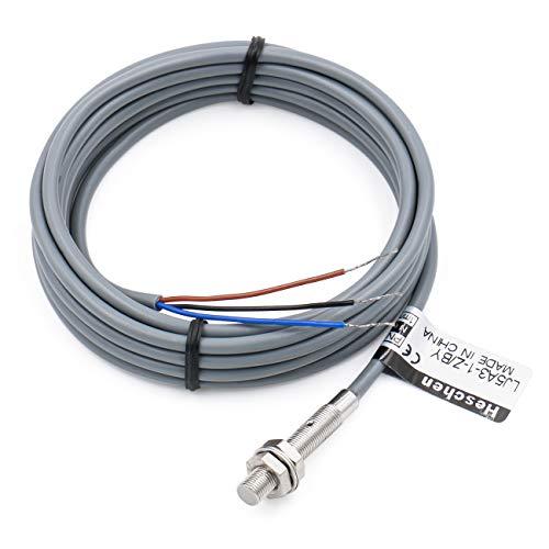 Heschen M5 Interruptor de sensor de proximidad inductivo Tipo de escudo LJ5A3-1-Z/BY Detector 1 mm 10-30VDC 150mA PNP Normalmente abierto (NO) 3 cables