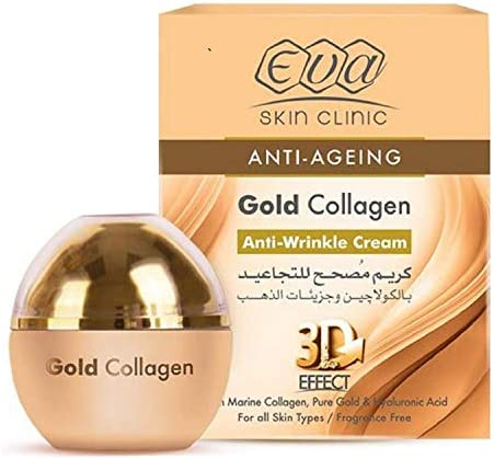 Eva Skin Clinic Anti Ageing Gold Collagen Anti Wrinkle Cream 3D Effect 1 76 oz 50 ml With Marine product image