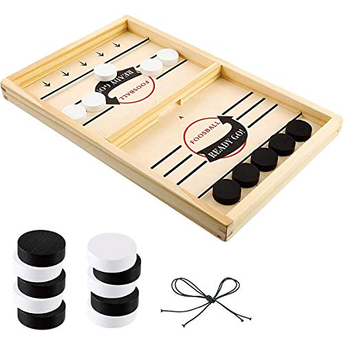 Fast Sling Puck Game, Jeu de Table de Hockey Portable en Bois, Table Top Board Game Jeu de Palet à Fronde Rapide, Jeu déchecs interactif parent-enfant, Jouets éducatifs, Cadeaux pour enfants