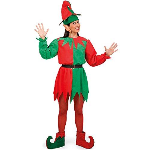 Carnival Toys 27022–Costume da Elfo Donna con Cappello, Orecchie, Cintura e ueberschuhen, M, Verde