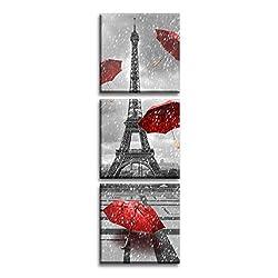 Jingtao Art Paris Eiffel Tower Art Paintings Red Umbrellas Flying on The Rain Wall Decor Posters Print on Canvas (1212inch3), Multi