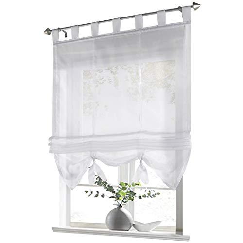 ESLIR Raffrollo mit Schlaufen Gardinen Küche Raffgardinen Transparent Schlaufenrollo Vorhänge Modern Voile Weiß BxH 140x155cm 1 Stück