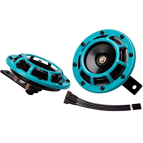 FARBIN Kit de bocina de coche eléctrico Super tono 12 V alto tono/tono bajo de metal doble bocina con parrilla protectora (cian)
