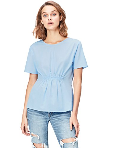 Amazon-Marke: find. Damen Bluse Ruched Front, Blau (Blue), 38, Label: M