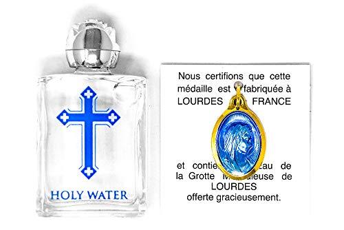 Goldener Anhänger, gefüllt mit Weihwasser aus Lourdes, inklusive Weihwasser-Flasche