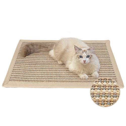 FUKUMARU Cat Scratcher Mat, 23.6 X 15.7 Inch Natural Sisal Cat Scratch Mats, Horizontal Cat Floor Scratching Pad Rug, Protect Carpets and Sofas (Cream - Thicken)