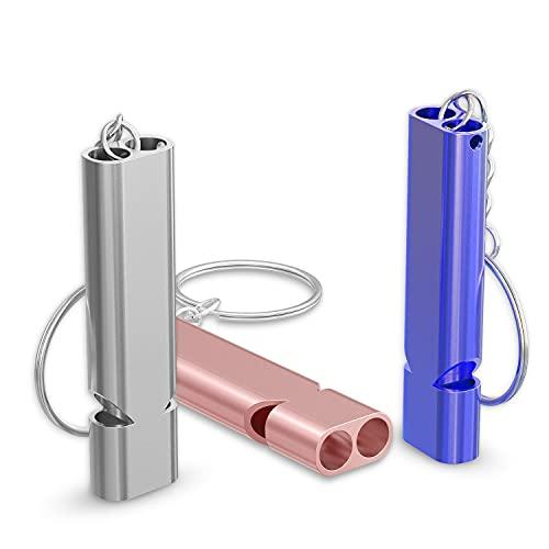Merpin Trillerpfeife, Notfallpfeife, Pfeife mit Schlüsselanhänger,Trillerpfeife Sportunterricht für Schule Gym Outdoor (Silber+Rosa+Blau)