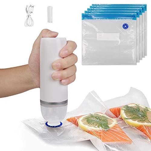 SOOKU Mini Sigillatore automatico per alimenti con 5 sacchetti riutilizzabili, set di sigillanti sottovuoto portatile e ricaricabile, per cucinare e conservare alimenti