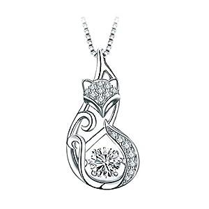 T400 Jewelers Schöne Fox 925 Sterling Silber Halskette Fuchs Tanzender Stein mit Zirkonia Anhänger Halskette für Frauen Damen, 45cm