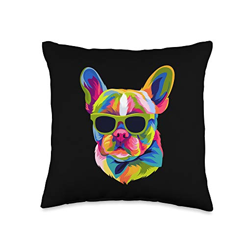 French BullDog Design Gifts Men Women Pop Art French Bulldog Cute Gift Fur Mom Dog Dad Frenchie Throw Pillow, 16x16, Multicolor