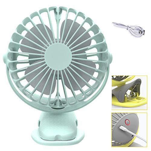 BEIAKE Ventilador De Aire De Rotación Completa De 360 Grados Refrigeración Mini Ventilador 4 Velocidades Carga USB Ventilador De Clip De Escritorio Ventilador Recargable De 4000 Mah,Azul