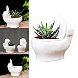Toilet Flower Pots Creative White Ceramic Toilet Succulent Planter Pot Flower Plant Pot Container Toilet Bonsai Pot Balcony Plant Pot