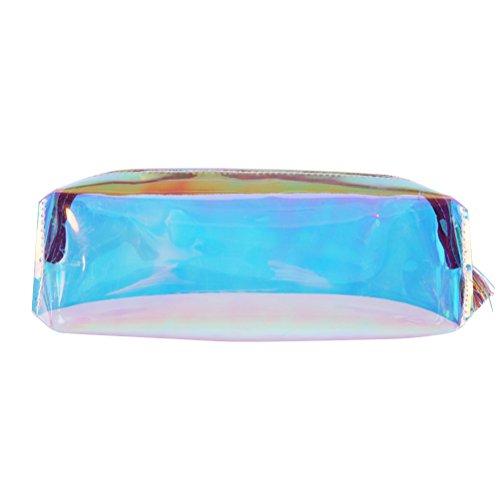 Frcolor Trousse à cosmétiques brillante pour femme Multifonction Porte-crayons Sac de voyage Idéal pour les voyages et la vie quotidienne Bleu