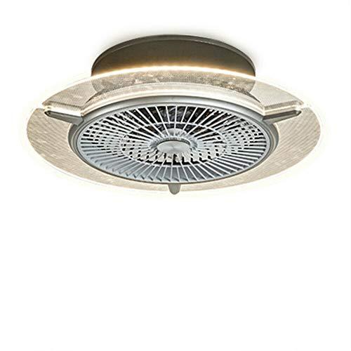Ventilador LED de techo de 48 W, de metal/ABS en transparente/plástico, lámpara de techo con ventilador y mando a distancia, 3 niveles de conmutación, 2880 K, adecuado para dormitorio, salón