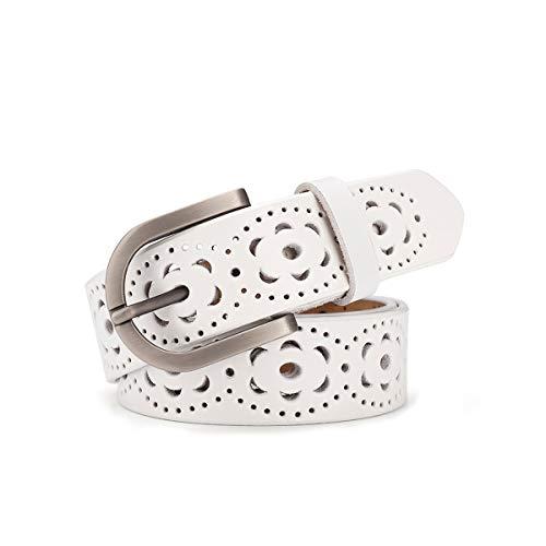 Cinturón de las mujeres de cuero genuino del zurriago de la vendimia Moda diseño floral hueco Cinturón de las señoras con hebilla de aleación para los pantalones vaqueros (Blanco)