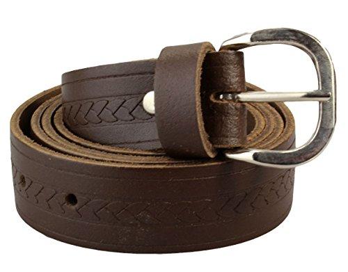 Alex Flittner Designs Ledergürtel für Damen und Herren in dunkelbraun mit schmalem Zopfmuster | Bundweite 110cm = Gesamtlänge 125cm