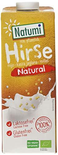 Natumi Hirsedrink Natural Ungesüßt Hirse Drink Bio Veganer Milchersatz, Neutral, 1 ltr (6er Pack)